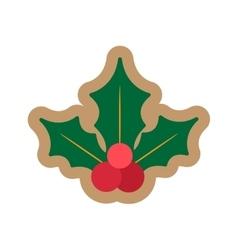 Flat icon on white background Christmas mistletoe vector