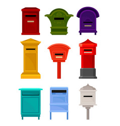 Flat set of mailboxes colorful containers vector