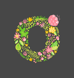 Floral summer letter o flower capital wedding vector
