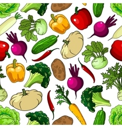 Fresh picked vegetables seamless pattern vector image