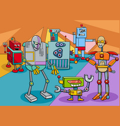 funny robot characters group cartoon vector image