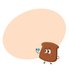 funny smiling dark brown bread slice character vector image