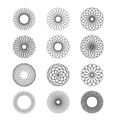 Geometric circular ornament spirograph flower draw vector