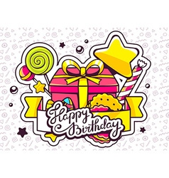 gift box and sweets with ribbon and text vector image