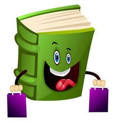 Green book is shopping on white background vector