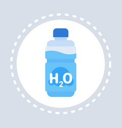 h2o mineral water bottle icon healthcare medical vector image