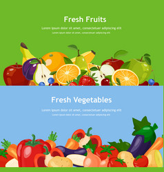 horizontal banners set with fresh fruits and vector image
