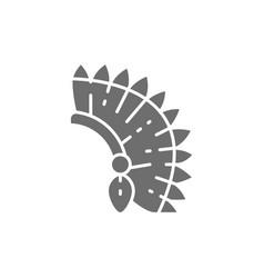 indian chief headdress native american grey vector image