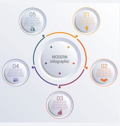 Infographic diagram with 5 options circles vector