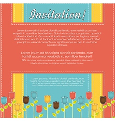 Invitation card with colorful flowers vector image
