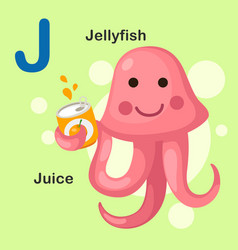 isolated animal alphabet letter j-jellyfish juice vector image
