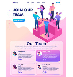 Isometric join our team we need professionals vector