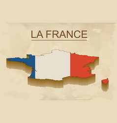 isometric map of france with flag isolated 3d vector image