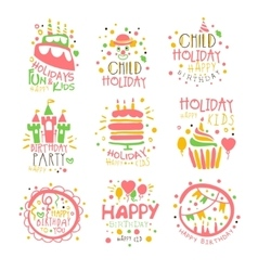 Kids Birthday Party Entertainment Promo Signs Set vector