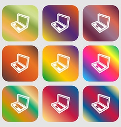 Laptop icon Nine buttons with bright gradients for vector