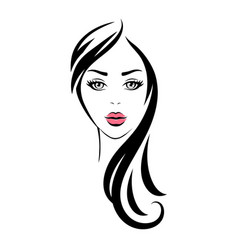 looking woman with black long hair and pink lips vector image