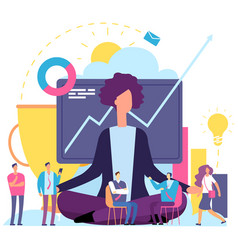 Meditation concept businesswoman in emotional vector
