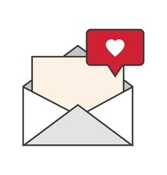 message envelope and heart notification icon vector image