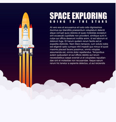 Modern galaxy space rocket spaceship launch vector