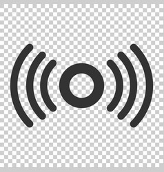 Motion sensor icon in flat style sensor waves on vector