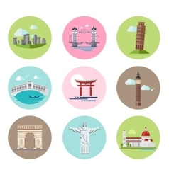 National Landmarks Set in Flat vector