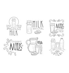 natural milk hand drawn retro labels set daily vector image