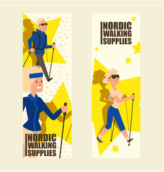 nordic walking people landing page leisure sport vector image