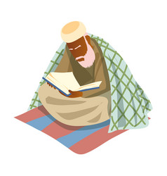 Old muslim white bearded man reading saint koran vector
