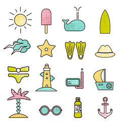 Outline icons with summer sign summer icons with vector