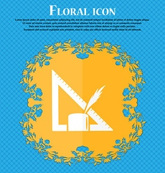 Pencil and ruler icon Floral flat design on a blue vector image
