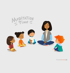 Preschool female teacher and smiling kids sitting vector