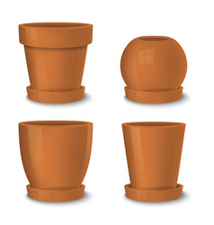 realistic brown empty flower pot with plate vector image vector image