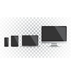 realistic device flat icons smartphone tablet vector image