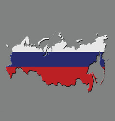 russia map with the russian flag vector image