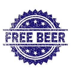 Scratched textured free beer stamp seal vector