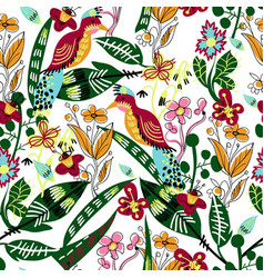 seamless pattern with bird leaves and flowers vector image
