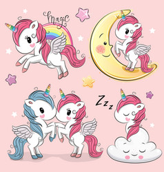 set cute cartoon unicorns vector image