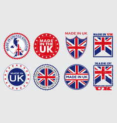 set made in united kingdom label for retail vector image