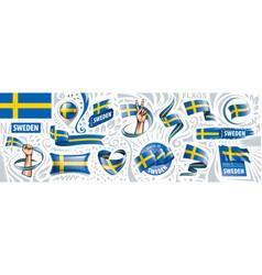 set national flag sweden in vector image