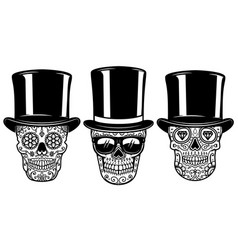 set of mexican sugar skull in vintage hat and vector image