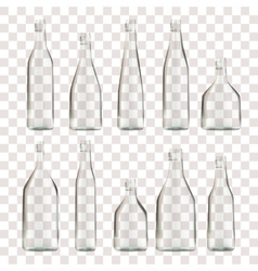 Set of transparent empty bottles vector
