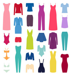 set of woman clothes icons vector image