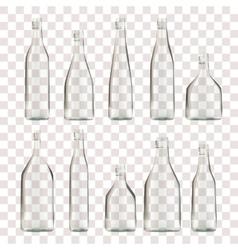 set transparent empty bottles vector image