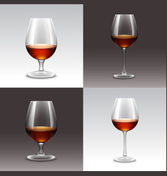 set wine glasses isolated vector image