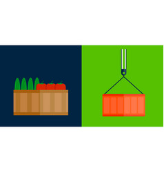 Shipping transportation fruits box vector