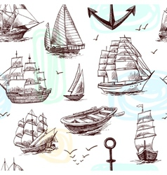 Ships and boats sketch seamless pattern vector
