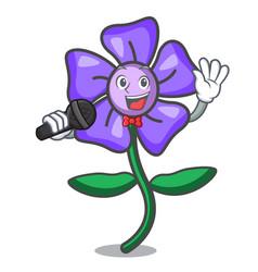 Singing periwinkle flower mascot cartoon vector