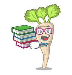 student with book fresh organic parsnip vegetable vector image
