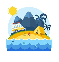 Summer Beach Camping Landscape vector image