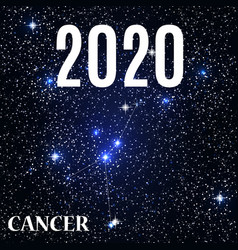 symbol cancer zodiac sign with new year and vector image